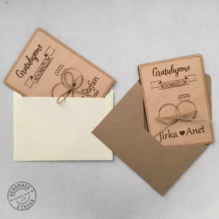 Papírová obálka na dřevěné přání